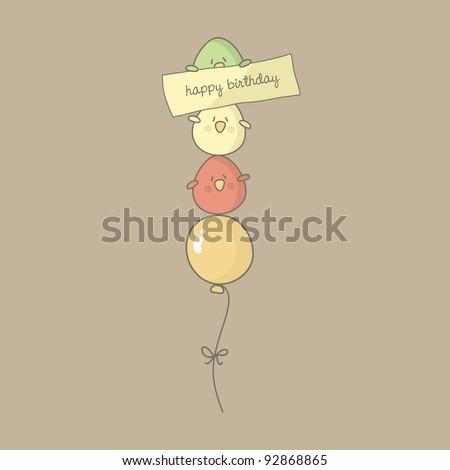 Birthday card with cute birds flying on a balloon. Vector.