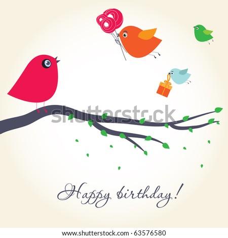 birthday card with cute birds