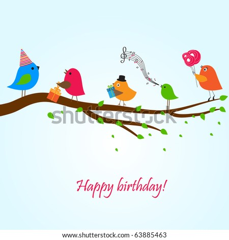 Birthday Card With Cute Birds With Flowers And Gifts St