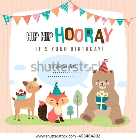 birthday card with cute cartoon