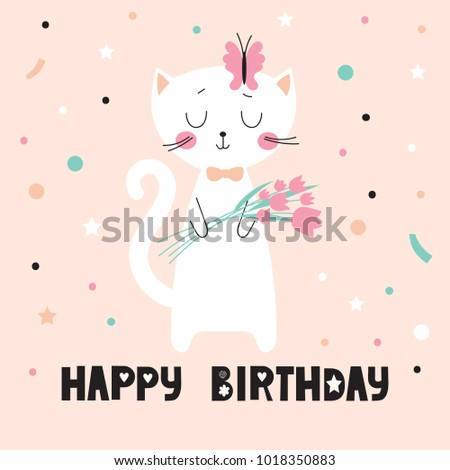 Birthday card with cute cartoon cat with a bouquet of tulips. Vector illustration. #1018350883
