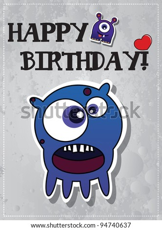 Birthday card with cute monsters, vector