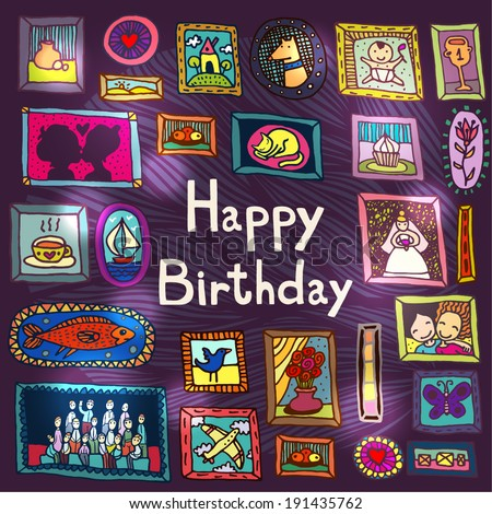 birthday card with framed