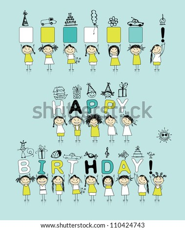 Birthday card with funny girls for your design