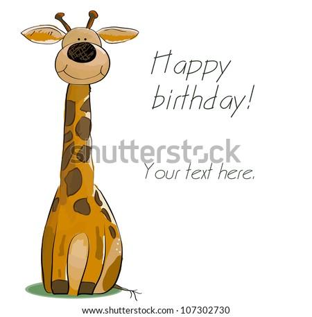 giraffe birthday card gangcraft