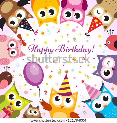Birthday card with owls - stock vector