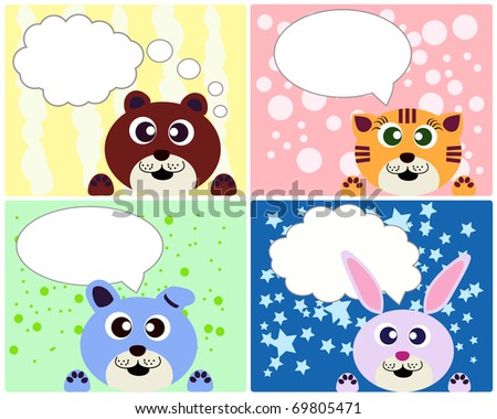 Birthday Cards For Children Stock Vector 69805471 : Shu