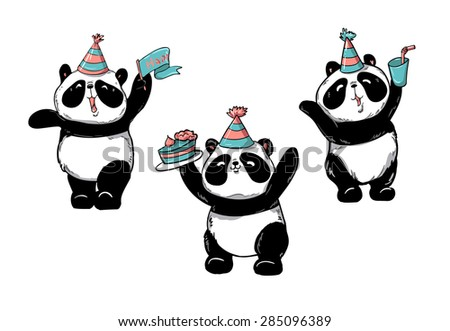 birthday cards  panda  vector