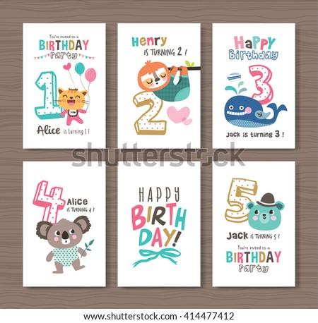 Vector Cute Bear Birthday Cards Download Free Vector Art Stock