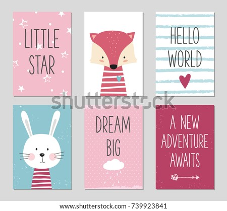 Birthday cards with quotes, cartoon fox and bunny for baby girl and kids. Can be used for baby shower, birthday, party invitation. Little star. Hello world. Dream big. A new adventure awaits. Poster.