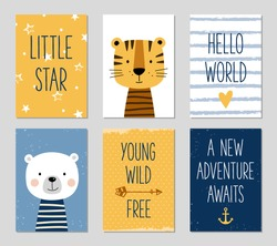 Birthday cards with quotes, cartoon tiger and bear for baby boy and kids. Can be used for baby shower, birthday, party invitation. Little star. Hello world. Young, wild, free. A new adventure awaits.