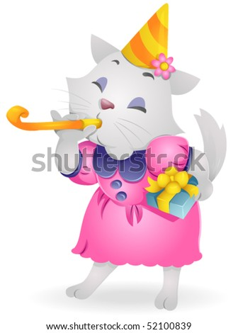 Birthday Cat - Vector #52100839