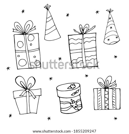 Birthday celebration sketch in black and white. Present and party hat. Illustration vektor isolated on white background Stock foto ©