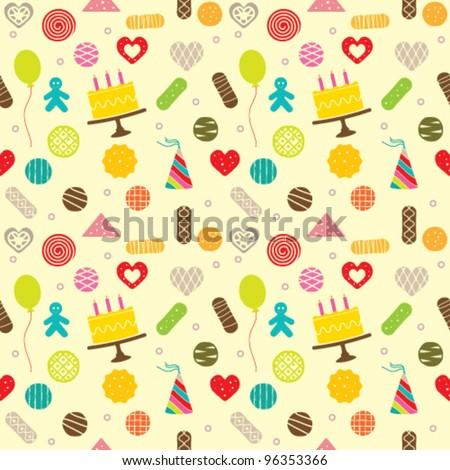 Birthday celebration themed seamless pattern