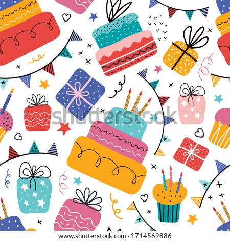 Birthday cream cakes, gift boxes, garlands flat vector seamless pattern. Hand drawn background for a party, holiday for children, festival. Decoration in the Scandinavian style. Party decorative items