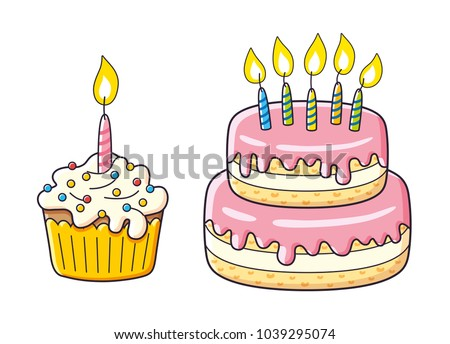 Birthday cupcake and big cake with candles isolated