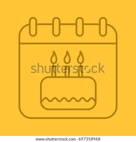 Birthday date linear icon. Calendar page with birthday cake. Thin line outline symbols on color background. Vector illustration