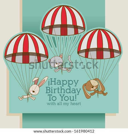 birthday design over gray background vector illustration