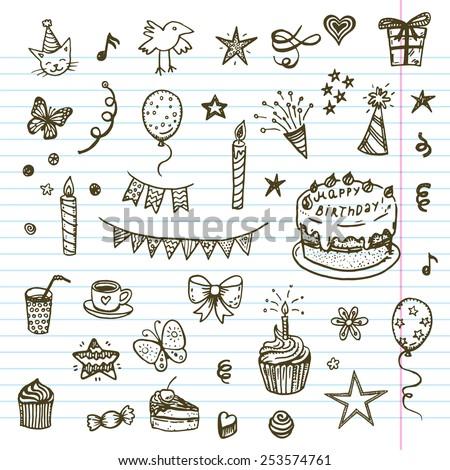 birthday elements hand drawn