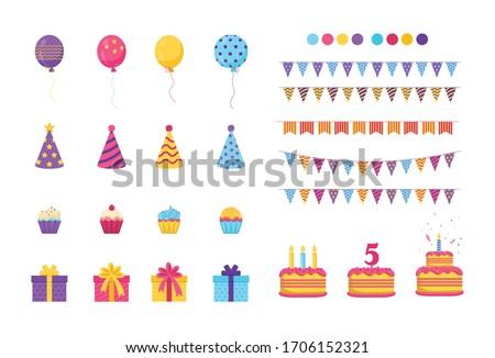 Birthday Elements Set, Birthday Party, Happy Birthday