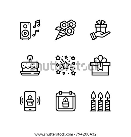 Birthday, event, celebration vector simple icons for web and mobile design pack 5