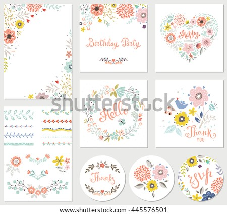 birthday floral card set with