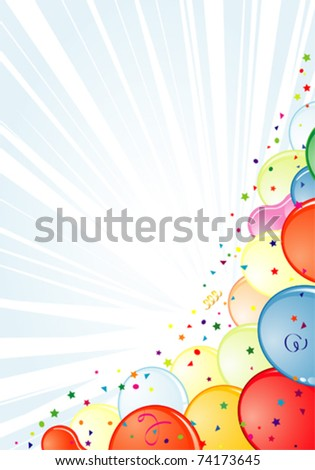Birthday Frame with Balloon, Streamer and confetti, element for design, vector illustration - stock vector