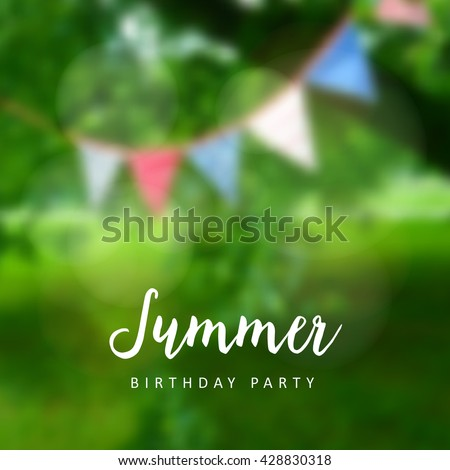 Birthday garden party. Brazilian june party. Festa junina. Party decoration, flags. Modern blurred background. Vector illustration.
