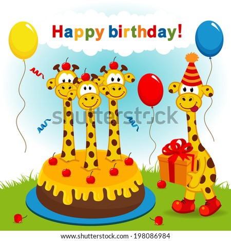 birthday giraffe vector illustration eps