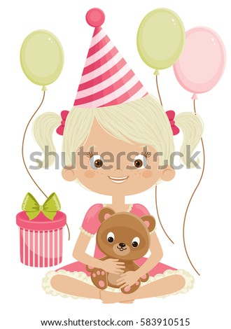 birthday girl with teddy bear