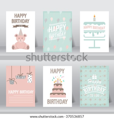 birthday, greeting and invitation card.  there are teddy bear, gift boxes, confetti, cup cake. vector illustration