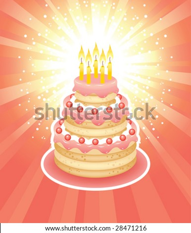 Birthday greeting card with a cake