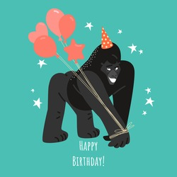 Birthday greeting card with a funny gorilla in a cap and with balloons. Funny cartoon character in a flat style.