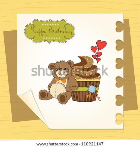 birthday greeting card with cupcake and teddy bear
