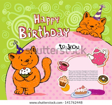Birthday greeting card with red cat