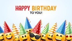 Birthday happy smile greeting card. Vector birthday background 3d colorful banner character funny face design