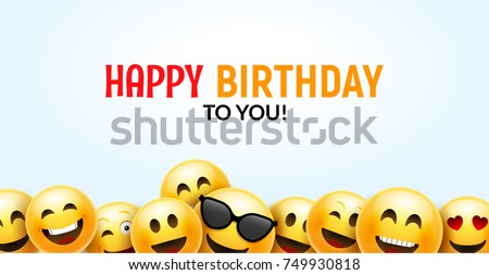 Birthday Happy Smile Greeting Card Vector Background 3d Colorful Character Design