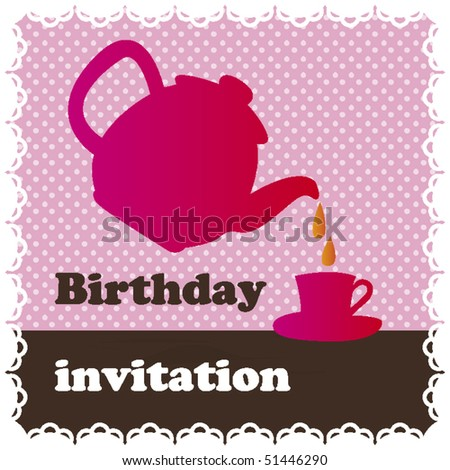 stock vector : Birthday high tea invitation card design