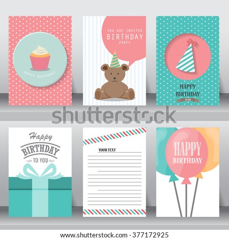 birthday, holiday, christmas greeting and invitation card.  there are teddy bear, gift boxes, confetti, cup cake. layout template in A4 size. vector illustration