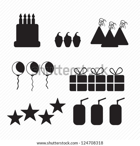 Birthday Icons Silhouettes Cake Cupcakes And Hats