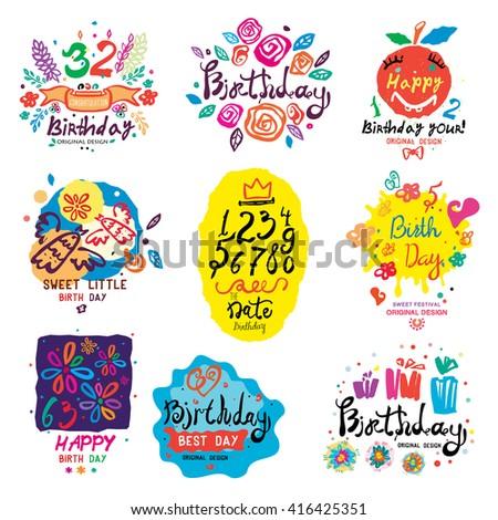 birthday illustration and logo