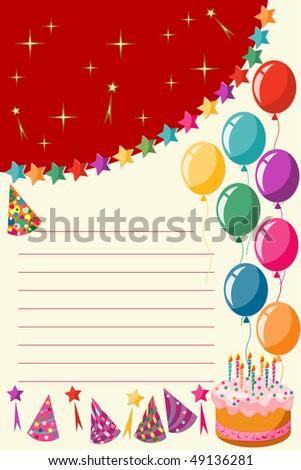 Birthday Invitation Card Stock Vector 49136281 : Shutte