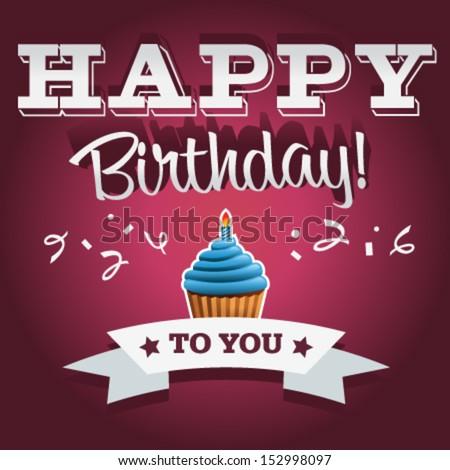 Birthday invitation card with confetti and blue cupcake.