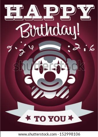 Birthday invitation card with confetti and clown.