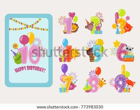birthday numbers vector cartoon