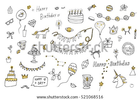birthday objects vector collection with unicorn