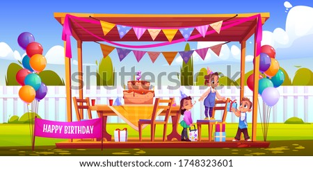 Birthday outside party on backyard. Kids celebrate anniversary, give gifts. Vector cartoon illustration of garden with happy children, holiday decorations, cake with candles, balloons and garland