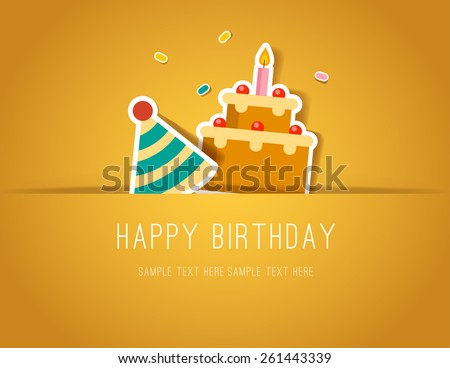 Birthday Paper Cut card with Cake and Party Hat