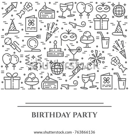 Birthday party banner with pictograms of different celebration and greeting b-day elements collected in form of horizontal rectangle. Vector illustration of isolated outline icons with editable stroke