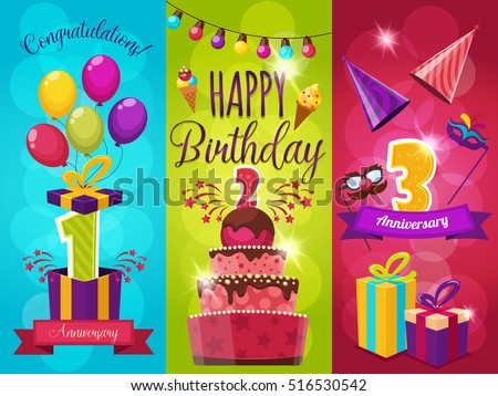 Birthday party banners set with balloons fireworks gift boxes and masks icecream and ribbons isolated vector illustration